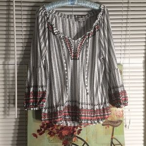 Aztec Print cinched bell sleeve top